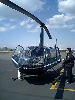 R44で晴海ヘリポート